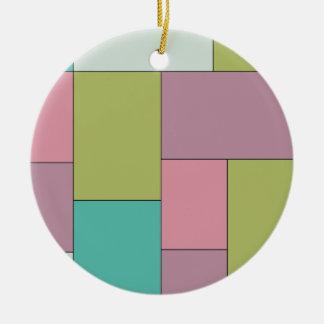 緑のピンクおよび紫色色のブロック セラミックオーナメント