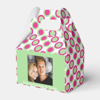 緑のピンクの結婚式の写真4a フェイバーボックス