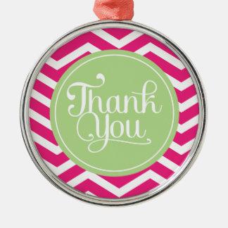 緑のピンクはシェブロン感謝していしています メタルオーナメント