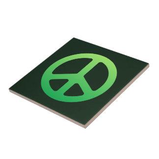 緑のピースサイン タイル