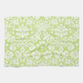 緑のファンシーなダマスク織パターン キッチンタオル
