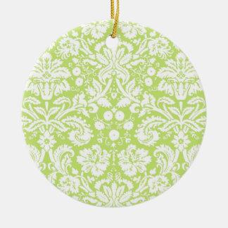 緑のファンシーなダマスク織パターン セラミックオーナメント