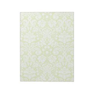 緑のファンシーなダマスク織パターン ノートパッド