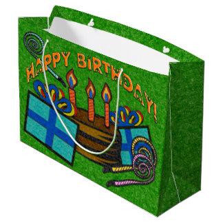 緑のフェルト板誕生日 ラージペーパーバッグ