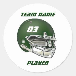 緑のフットボール用ヘルメットのステッカー 丸形シール・ステッカー