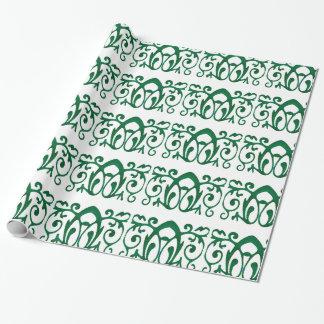 """緑のフルーアのろうけつ染めの包装紙、30"""" x 6' ラッピングペーパー"""