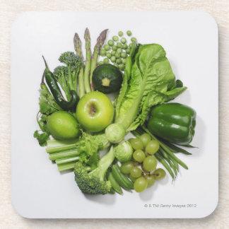 緑のフルーツ及び野菜の選択 コースター