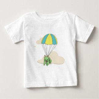 緑のフレンチ・ブルドッグの傘のおもしろいの子供のワイシャツ ベビーTシャツ