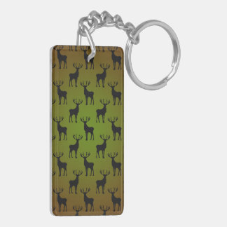 緑のブラウンの雄鹿のシカパターン キーホルダー