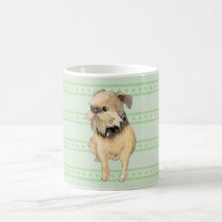 緑のブリュッセルGriffonの着席の水彩画 コーヒーマグカップ