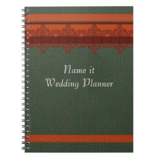 緑のブロケードのウェディングプランナー ノートブック