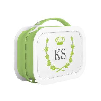 緑のプリンセスの王冠及びモノグラム ランチボックス