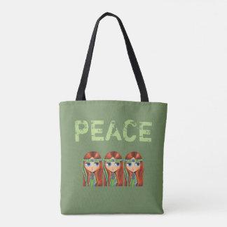 緑のヘッドバンドの60年代の平和ヒッピーの女の子のひよこ トートバッグ