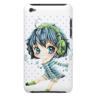 緑のヘッドホーンを持つかわいい日本製アニメの女の子 Case-Mate iPod TOUCH ケース