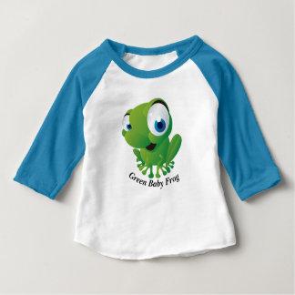緑のベビーのカエルの服装の袖のRaglanのTシャツ ベビーTシャツ