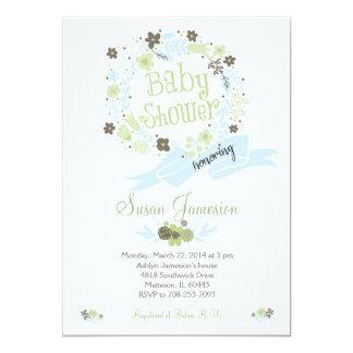 緑のベビーシャワーの花のリースの招待 12.7 X 17.8 インビテーションカード