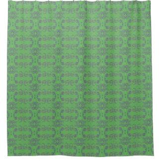 緑のペイズリーパターン シャワーカーテン