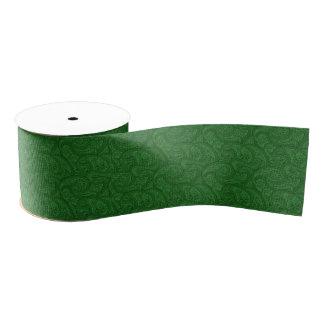 緑のペイズリー グログランリボン