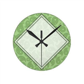 緑のペーズリー ラウンド壁時計
