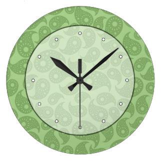緑のペーズリー ラージ壁時計