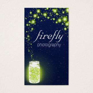 緑のホタル青い夜星の白熱[赤熱]光を放つな瓶 名刺