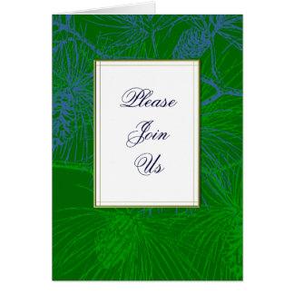 緑のマツカスタムによって折られる休日の招待状 カード