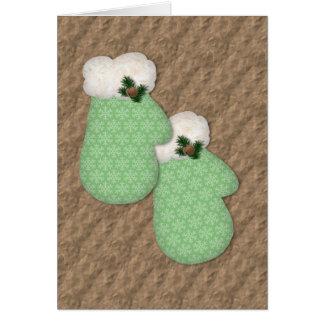 緑のミトンの低い視野のクリスマスカード カード