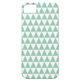 緑のミントおよび白い三角形パターン iPhone SE/5/5s ケース