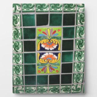 緑のメキシコタイルの仕事 フォトプラーク