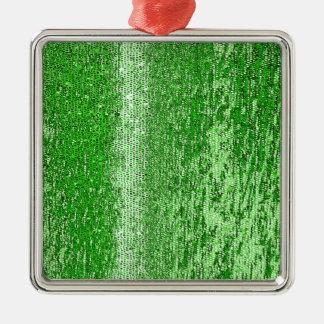 緑のモザイク模様 メタルオーナメント
