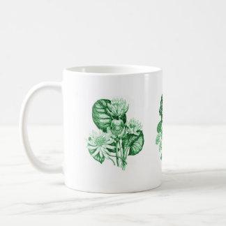 緑のモノクロ花 コーヒーマグカップ