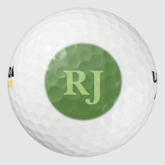 緑のモノグラムのなイニシャル ゴルフボール