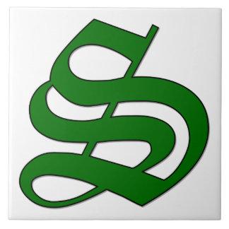 緑のモノグラムのタイルの免状の手紙S タイル