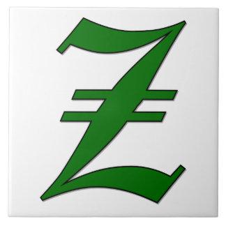 緑のモノグラムのタイルの免状の手紙Z タイル