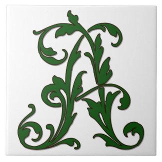 緑のモノグラムのタイルの葉の手紙A タイル
