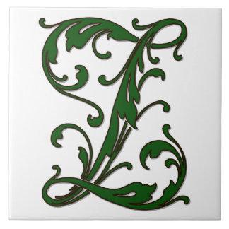 緑のモノグラムのタイルの葉の手紙Z タイル