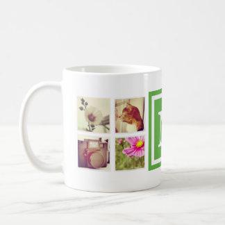 緑のモノグラムのInstagramの写真のコラージュのマグ コーヒーマグカップ