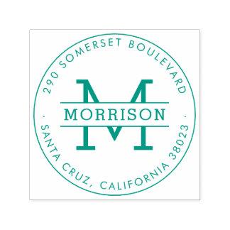 緑のモノグラム及び姓の円形の差出人住所 セルフインキングスタンプ