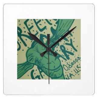 緑のヤギのギャラリーの時計 スクエア壁時計