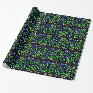 緑のヤモリの芸術の抽象芸術 ラッピングペーパー