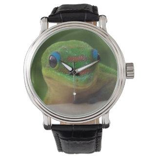 緑のヤモリ 腕時計
