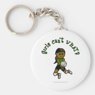 緑のユニフォームの暗いメスのバレーボール選手 キーホルダー