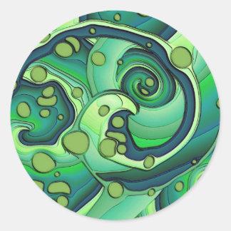 緑のユニークなデジタル芸術のステッカー ラウンドシール