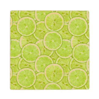 緑のライムの切れのパターン ウッドコースター