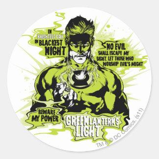 緑のランタンの文字のコラージュ-色 ラウンドシール