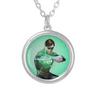緑のランタン及び白熱[赤熱]光を放つなリング シルバープレートネックレス