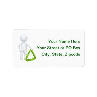 緑のリサイクルの記号及び人 ラベル