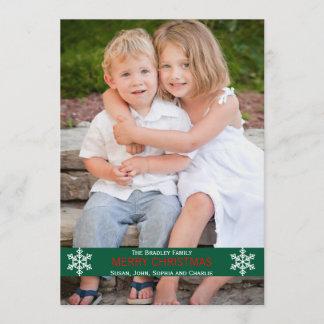 緑のリボンの雪片のクリスマスカード クリスマスカード