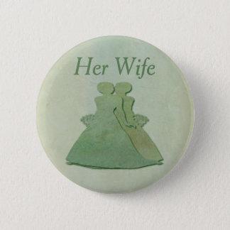 緑のレズビアン彼女の妻のバッジ-真新しい素朴 5.7CM 丸型バッジ