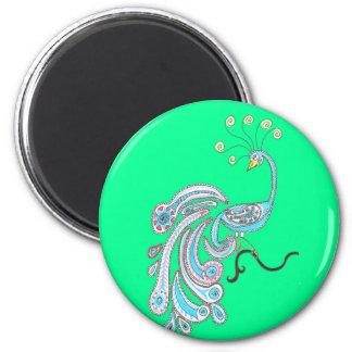 緑のレトロのカラフルなファンタジーの孔雀のスケッチ マグネット